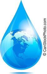 druppel, waterdruppeltje, wereld