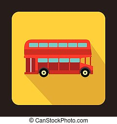 dubbel dek, londen, bus, rood, pictogram