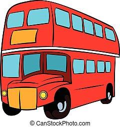 dubbel dek, londen, bus, spotprent, rood, pictogram
