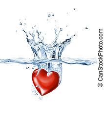 duidelijk, het glanzen, het bespaten, hart, water.