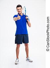 duim, het tonen, tennis, op, vasthouden, racket, man