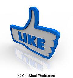 duim, zoals, symbool, op, bespreken, pictogram