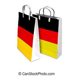 duitsland, zakken, gesloten, bu, shoppen , flag., detailhandel, geopend, twee