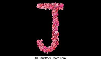 dynamisch, hart, valentijn, geanimeerd, roze, uit, partikels, j, gevormde, brieven
