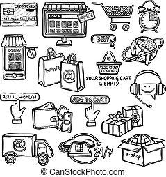 e-handel, schets, set, iconen