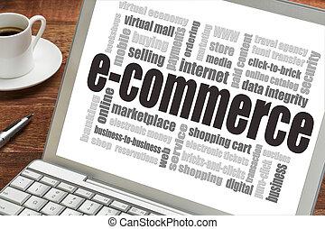 e-handel, woord, wolk