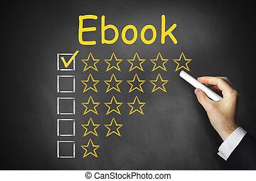 ebook, black , chalkboard, hand het schrijven