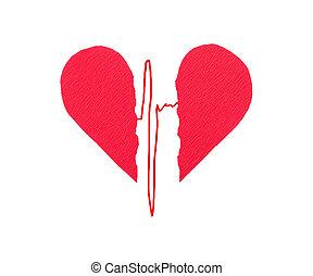 ecg, kapot, rood hart