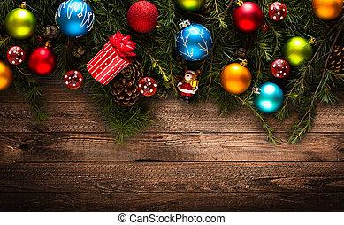 echte, baubles, kleurrijke, frame, pijnboom hout, groene, zalige kerst