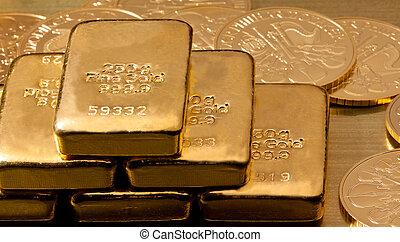 echte, gouden muntstukken, dan, bullion, investering