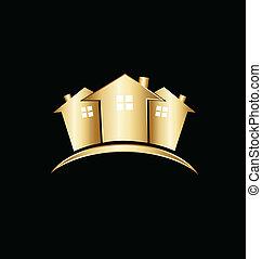 echte, huisen, landgoed, goud, logo