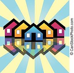 echte, huisen, landgoed, kaart, logo
