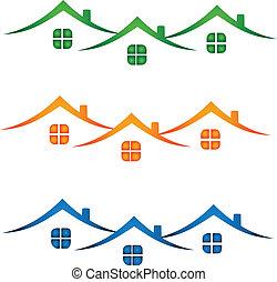 echte, huisen, landgoed, kleurrijke, logo-