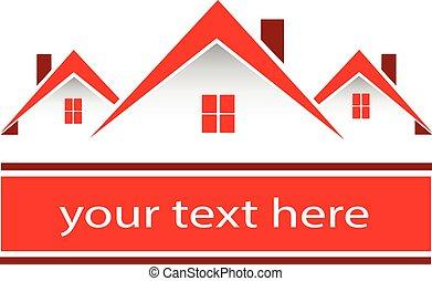 echte, huisen, landgoed, rood, logo