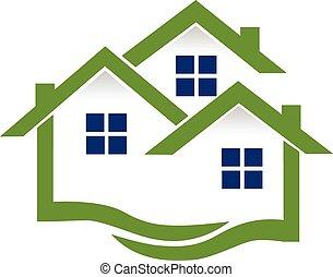 echte, huisen, logo, landgoed, golven