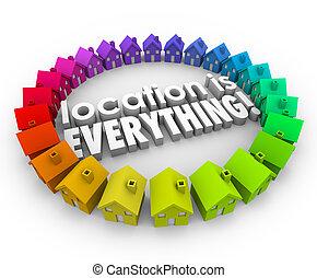 echte, huizen, landgoed, alles, huisen, plaats, woorden, 3d