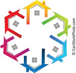 echte, logo, landgoed, kleurrijke