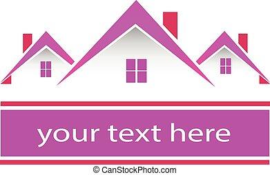echte, roze, huisen, landgoed, logo