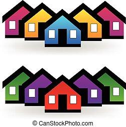echte, set, landgoed, huisen, vector, logo