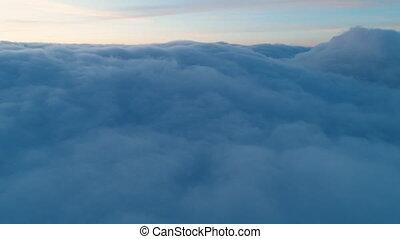 echte, vlucht, op, wolken, schemering