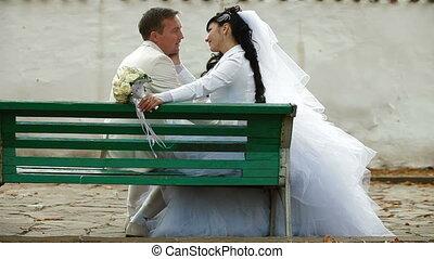 echtpaar, zelfs, zittende