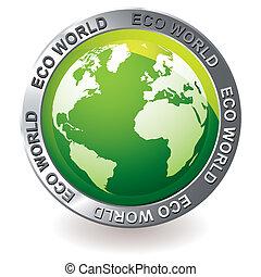 eco, aardebol, groene, pictogram