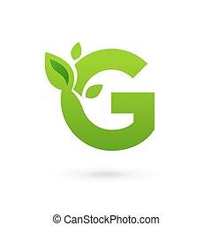 eco, communie, mal, bladeren, logo, g, pictogram, brief, ontwerp
