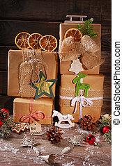 eco, kadootjes, papier, kerstmis, verpakte