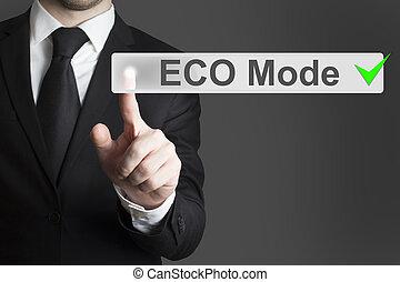 eco, scherm, voortvarend, wijze, beroeren, zakenman, knoop