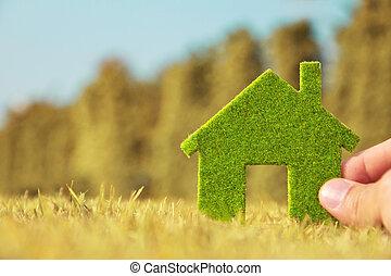 eco, vasthouden, het pictogram van het huis, hand