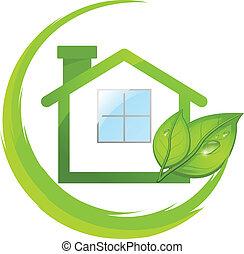 eco, woning, groene, vellen, logo