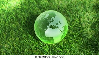 ecologie, concept, globe, milieu, glas, groen gras