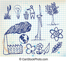 ecologie, hand-drawn, iconen, set