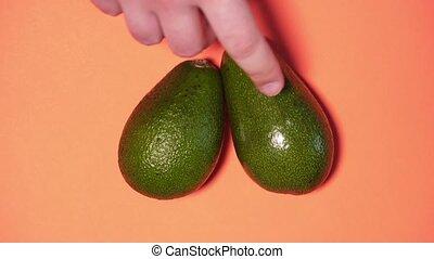 een, oogsten, man, bovenzijde, perzik, achtergrond, statisch, op, dan, avocado's, avocado., twee, vrouw, aanzicht, informatietechnologie, grit, anderen, chooses