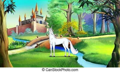 eenhoorn, kasteel, uhd, witte , sprookje