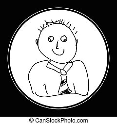 eenvoudig, doodle, man