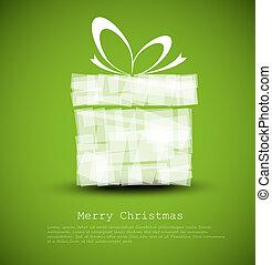 eenvoudig, kaart, groene, kerstkado