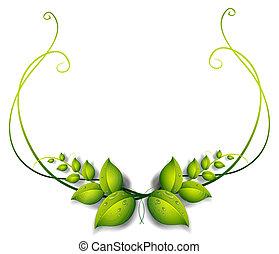 eenvoudig, leafy, grens