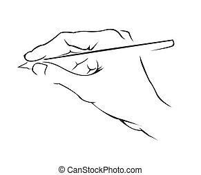 eenvoudig, symbool, hand het schrijven