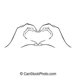 eenvoudig, symbool, liefde, hand