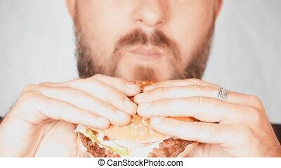 eet, afsluiten, verticaal, hamburger, man, op