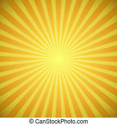 effect., gele, helder, vector, achtergrond, sinaasappel, schaduw, zonnestraal