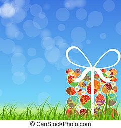 eggs., paaseitjes, illustratie, vector, kleurrijke, kaart