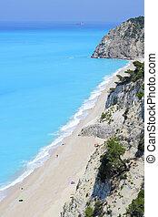 egremni, eiland, lang, lefkada, griekenland, strand