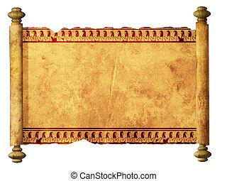 egyptisch, beelden, boekrol