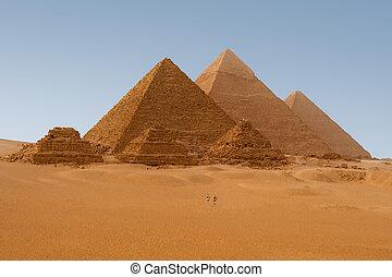 egyptisch, giza, egypte, piramides, aanzicht, zes, panaromic