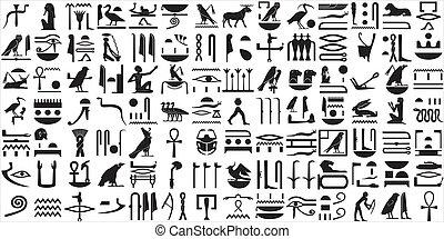 egyptisch, hi?roglieven, 1, oud, set
