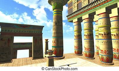 egyptisch, pool, zwemmen