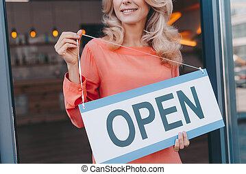eigenaar, koffiehuis, open teken