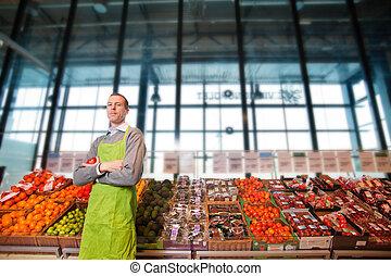eigenaar, verticaal, grocery slaan op